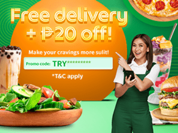 Use this GrabFood promo code to enjoy Free Delivery with extra P20 off